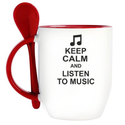 Кружка с ложкой Кeep calm and listen to music
