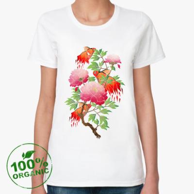 Женская футболка из органик-хлопка Цветы и рыбки