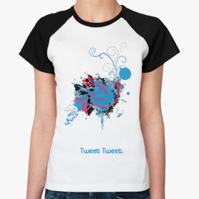 Женская футболка реглан Tweet  Ж(бел/чёрн)