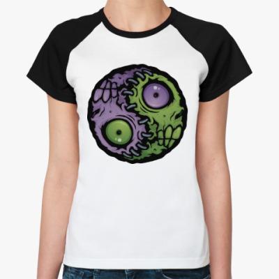 Женская футболка реглан Зомби инь-ян