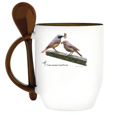 Кружка с ложкой Обыкновенные горихвостки