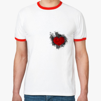 Футболка Ringer-T Сердце в краске