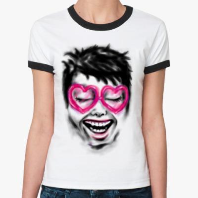 Женская футболка Ringer-T 'Ахахашка'
