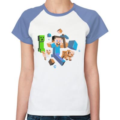 Женская футболка реглан Minecraft Run Away