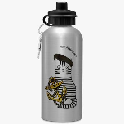 Спортивная бутылка/фляжка Армия РФ. Кот Морская пехота