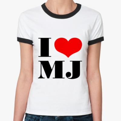 Женская футболка Ringer-T I LOVE MJ