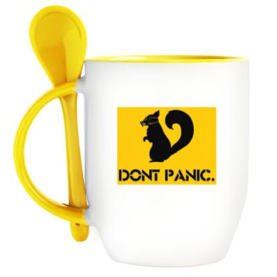 Кружка с ложкой Dont Panic