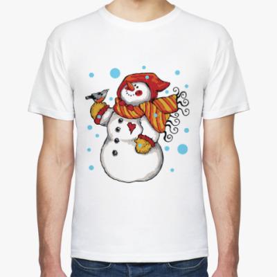 Футболка Снеговик и снегирь