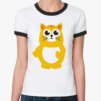 Женская футболка Ringer-T Жирный кот