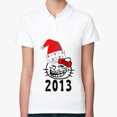 Женская рубашка поло Trollface: happy new year