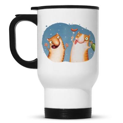 Кружка-термос Пьяные Коты