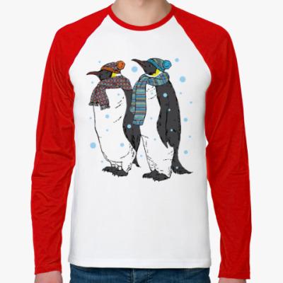 Футболка реглан с длинным рукавом Новогодние пингвины в шапках