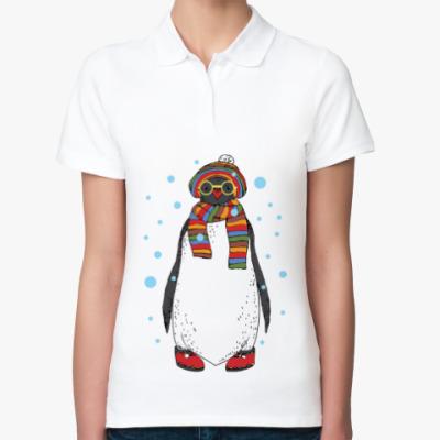 Женская рубашка поло Новогодний пингвин в шапке
