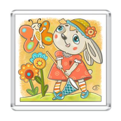 Магнит Зайка с бабочкой