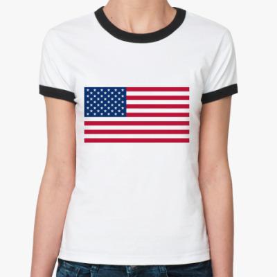 Женская футболка Ringer-T  Флаг США
