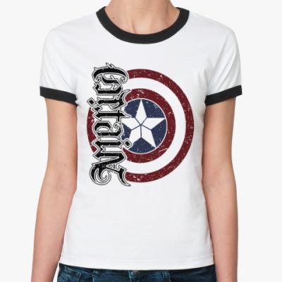 Женская футболка Ringer-T Первый мститель:Противостояние