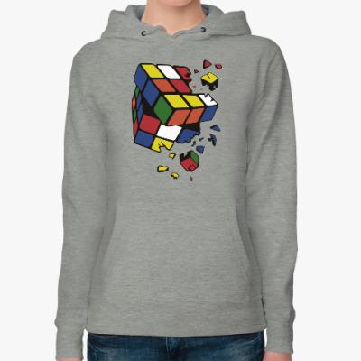 Женская толстовка худи Сломанный кубик Рубика
