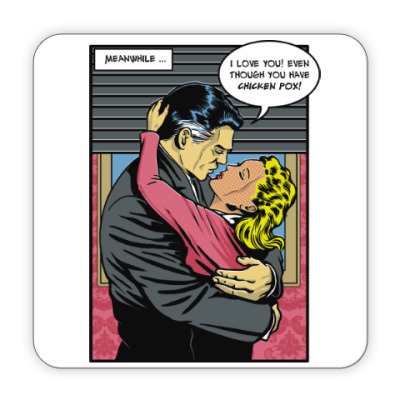 Костер (подставка под кружку) Страница из ретро комикса