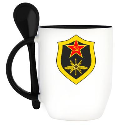 Кружка с ложкой Кружка с эмблемой радиотехнических войск