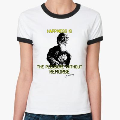 Женская футболка Ringer-T Лев Толстой