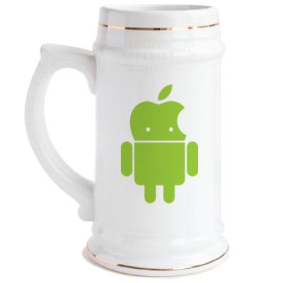 Пивная кружка Андроид голова-яблоко