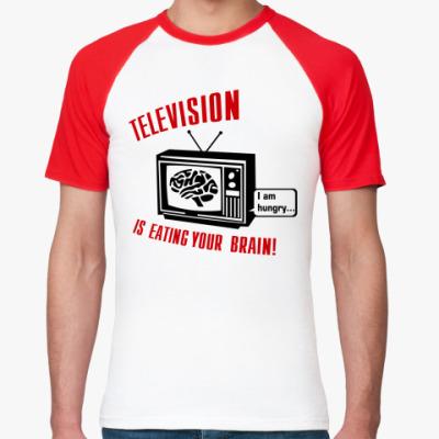 Футболка реглан Телевидение ест мозг