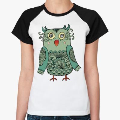 Женская футболка реглан Лесная совушка
