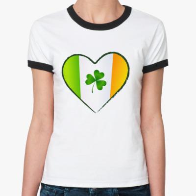 Женская футболка Ringer-T Люблю Ирландию