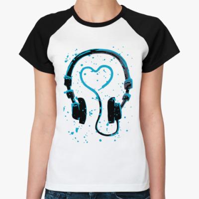 Женская футболка реглан dj's heart