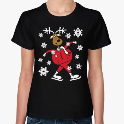 Женская футболка Олень на коньках