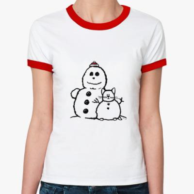 Женская футболка Ringer-T Снеговики (женская)