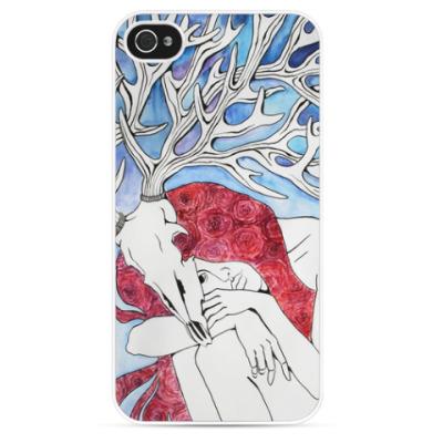 Чехол для iPhone Юность - девушка с рогами оленя