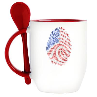 Кружка с ложкой USA отпечаток