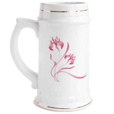 Пивная кружка розовый ирис