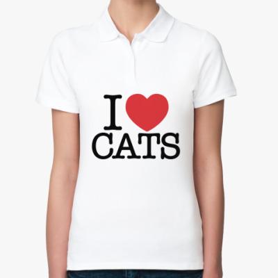 Женская рубашка поло i love cats!