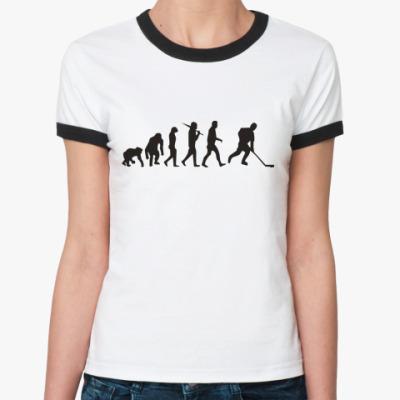 Женская футболка Ringer-T  Хоккейная эволюция