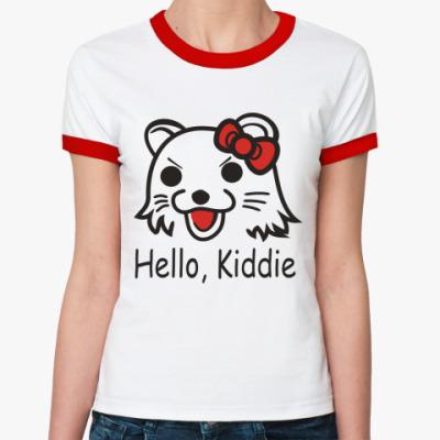 Женская футболка Ringer-T   Hello, Kiddie
