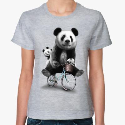 Женская футболка Панды на велосипеде