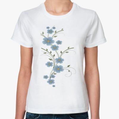Классическая футболка Синие цветы