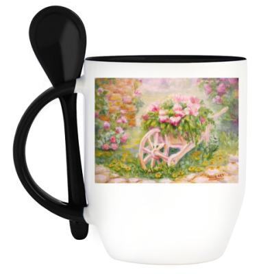 Кружка с ложкой Тележка с цветами