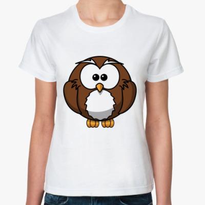 Классическая футболка смешной совенок