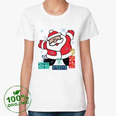 Женская футболка из органик-хлопка Дед Мороз с подарками