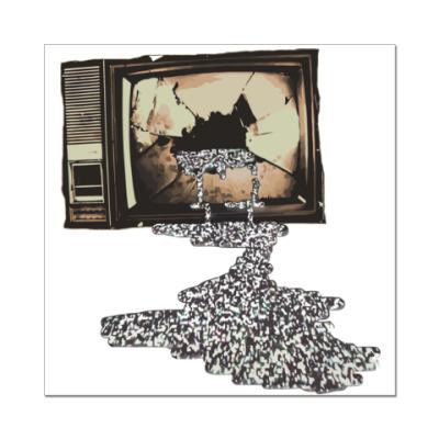 Наклейка (стикер) Разбитый телевизор