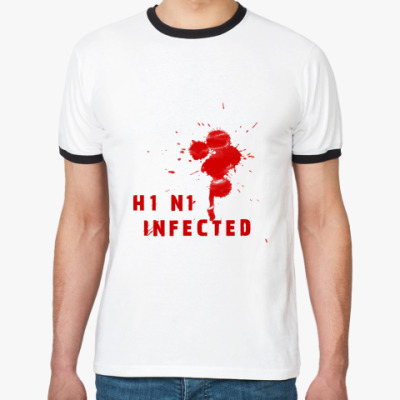 Футболка Ringer-T A_H1N1 Infected