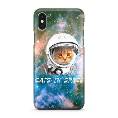Чехол для iPhone X котейка космонавт