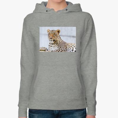Женская толстовка худи леопард