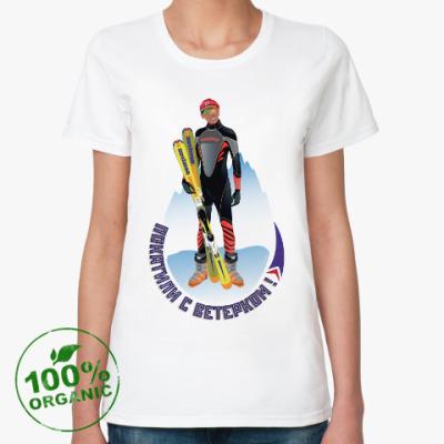 Женская футболка из органик-хлопка Кусто лыжи
