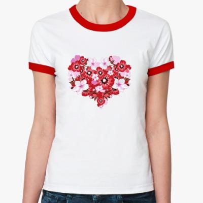 Женская футболка Ringer-T Цветочное сердце