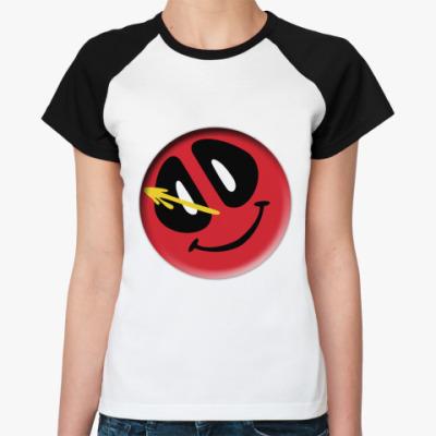 Женская футболка реглан Deadpool значок Комедианта
