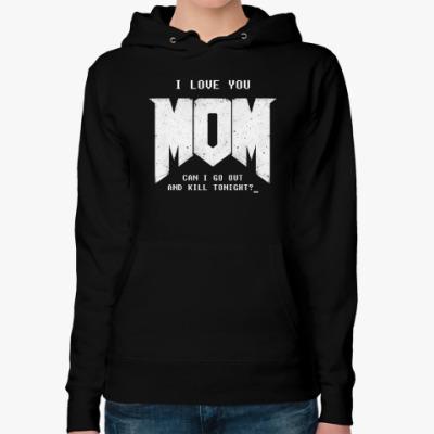 Женская толстовка худи I Love You MOM! в стиле DOOM